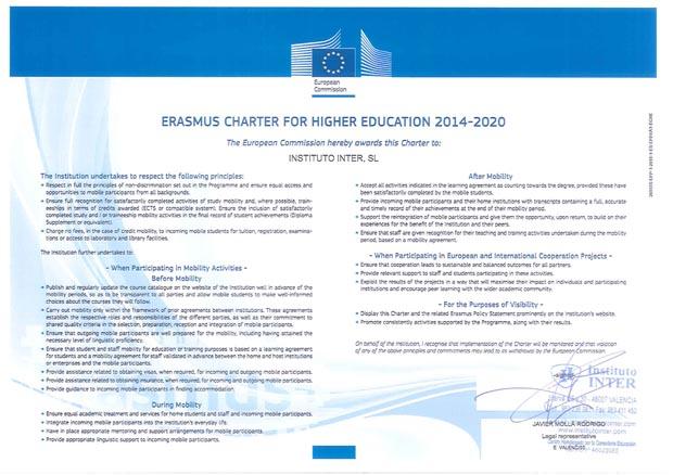 Erasmus certificate ing