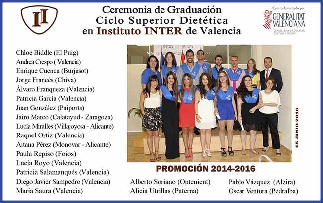 Alumnos Instituo Inter en Graduación Dietética Presencial