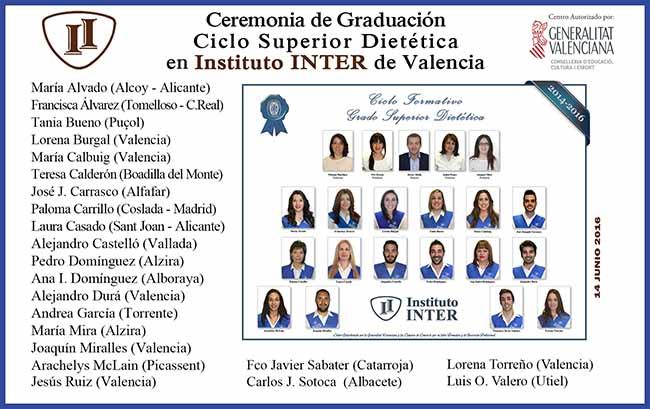 Alumnos Instituo Inter en Graduación Dietética Semipresencial