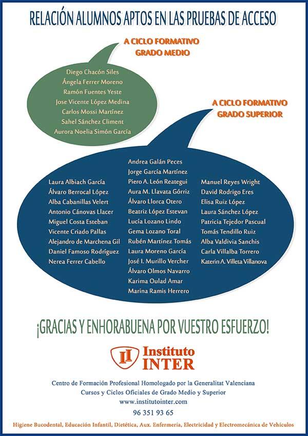 Enhorabuena ACCESO alumnos inter