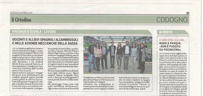 Recorte noticia INTER del periódico il Cittadino