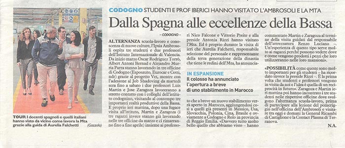 Recorte noticia INTER del periódico Il giorno