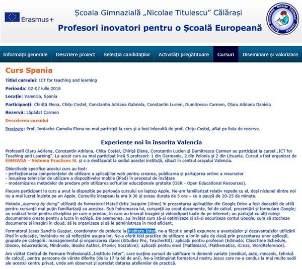 Extracto de la web del instituto de Rumanía donde hablan de su visita a nuestro centro.