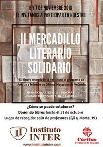 Cartel de Mercadillo Solidario semana cultural Instituto INTER