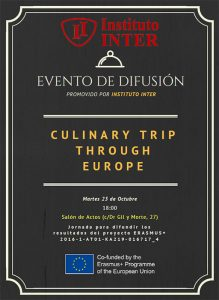 Cartel promocional Difusión Erasmus+ CULINARY TRIP THROUGH EUROPE