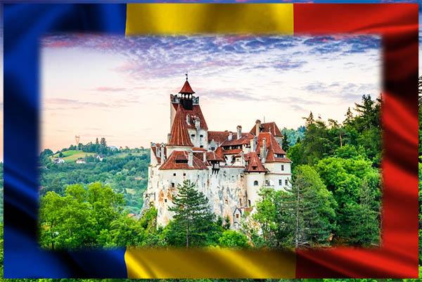 Castillo enmarcado con bandera de Rumanía