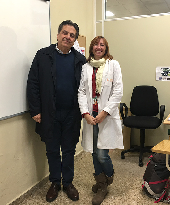 Laura Domenech, profesora Instituto INTER, junto a profesor italiano