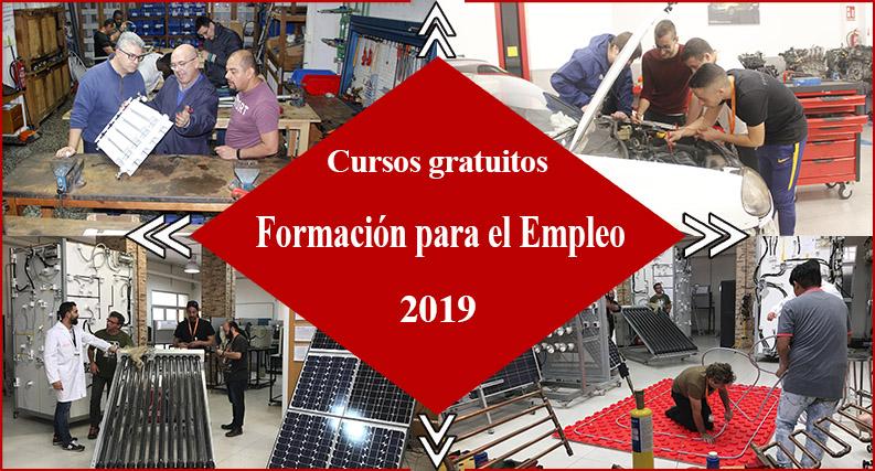 cartel cursos gratis, formación empleo