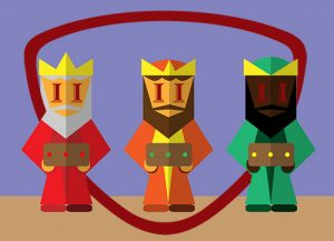 Reyes Magos con logo Instittuto INTER