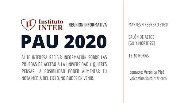 Cartel reunión PAU 2020