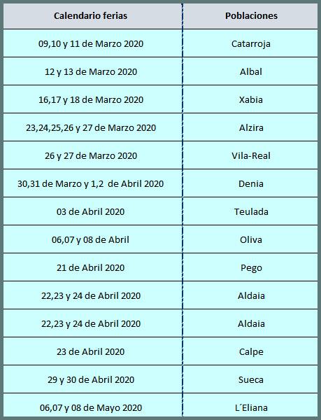 Calendario Feria de los colegios 2020