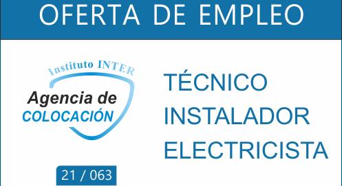 Oferta de Empleo: TÉCNICO INSTALADOR ELECTRICISTA